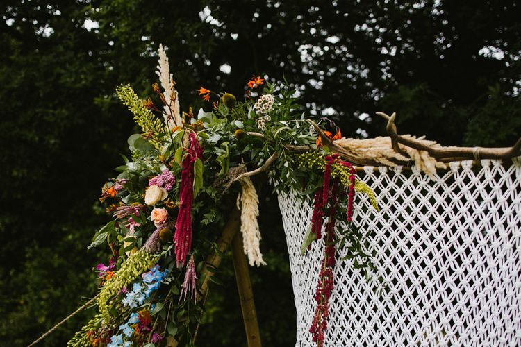 Floral Arch For Wedding Ceremony // The Fire Pit Camp Norfolk Wedding With Bride In Cleo Dress By Rue De Seine Dress And Images From Honey And The Moon Photography