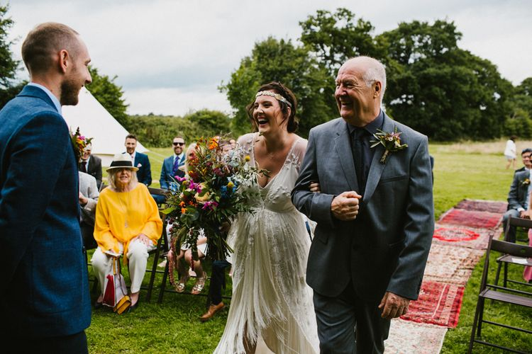 Outdoor Wedding Ceremony // The Fire Pit Camp Norfolk Wedding With Bride In Cleo Dress By Rue De Seine Dress And Images From Honey And The Moon Photography