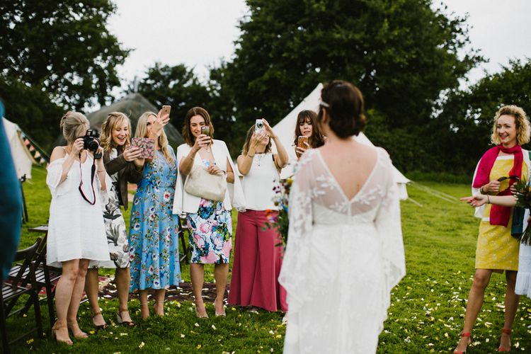 The Fire Pit Camp Norfolk Wedding With Bride In Cleo Dress By Rue De Seine Dress And Images From Honey And The Moon Photography