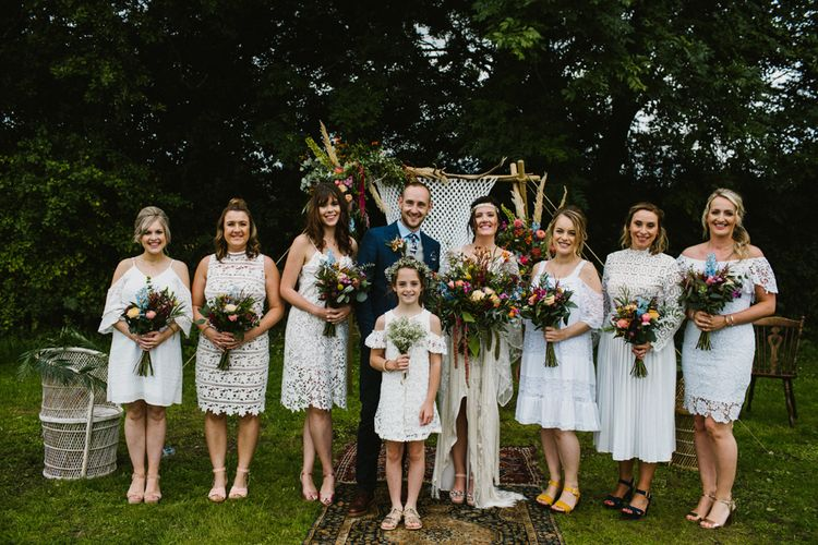 Bridesmaids In White Dresses // The Fire Pit Camp Norfolk Wedding With Bride In Cleo Dress By Rue De Seine Dress And Images From Honey And The Moon Photography