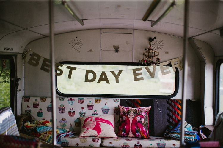 Best Day Ever Bunting For Wedding // The Fire Pit Camp Norfolk Wedding With Bride In Cleo Dress By Rue De Seine Dress And Images From Honey And The Moon Photography
