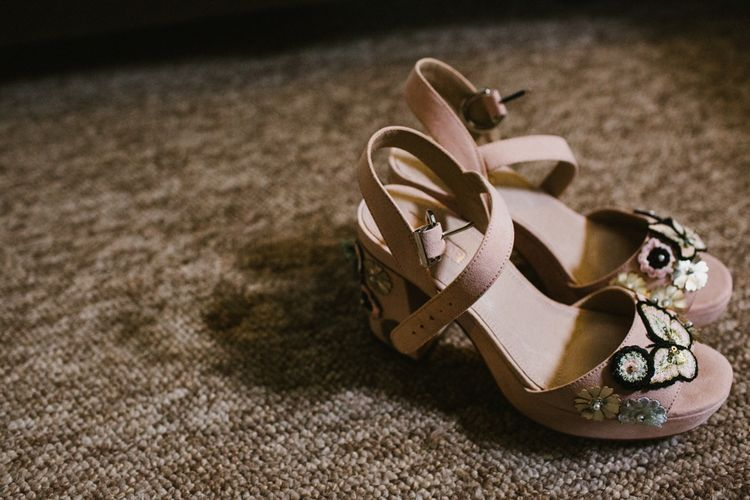 Embellished Wedding Shoes // The Fire Pit Camp Norfolk Wedding With Bride In Cleo Dress By Rue De Seine Dress And Images From Honey And The Moon Photography