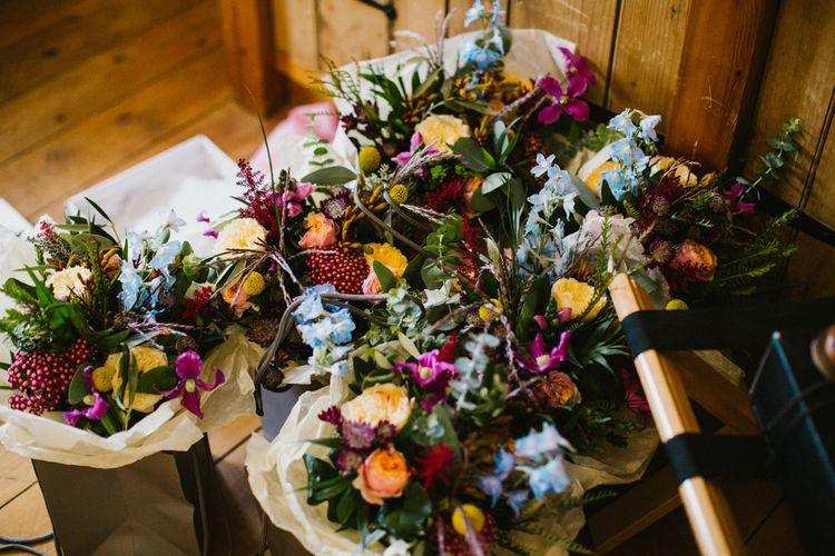Wedding Bouquet With Yellow Roses // The Fire Pit Camp Norfolk Wedding With Bride In Cleo Dress By Rue De Seine Dress And Images From Honey And The Moon Photography
