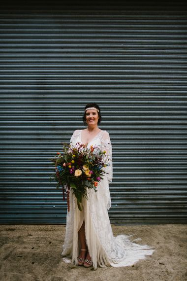 Bride In Cleo By Rue De Seine // The Fire Pit Camp Norfolk Wedding With Bride In Cleo Dress By Rue De Seine Dress And Images From Honey And The Moon Photography