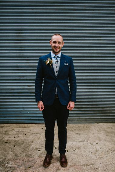 Groom In Navy Suit // The Fire Pit Camp Norfolk Wedding With Bride In Cleo Dress By Rue De Seine Dress And Images From Honey And The Moon Photography