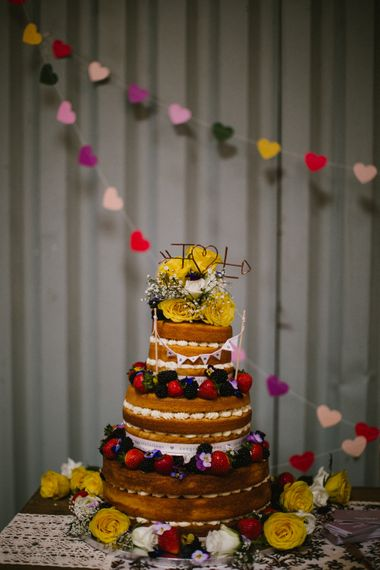 Naked Wedding Cake // The Fire Pit Camp Norfolk Wedding With Bride In Cleo Dress By Rue De Seine Dress And Images From Honey And The Moon Photography