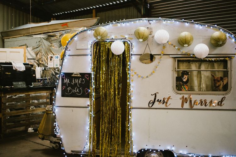 Caravan Photobooth For Wedding // The Fire Pit Camp Norfolk Wedding With Bride In Cleo Dress By Rue De Seine Dress And Images From Honey And The Moon Photography