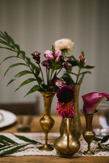 Gold & Brass Bud Vases // The Fire Pit Camp Norfolk Wedding With Bride In Cleo Dress By Rue De Seine Dress And Images From Honey And The Moon Photography