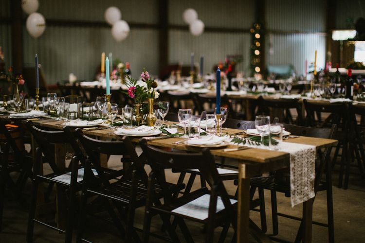 Rustic Table Styling For Wedding // The Fire Pit Camp Norfolk Wedding With Bride In Cleo Dress By Rue De Seine Dress And Images From Honey And The Moon Photography