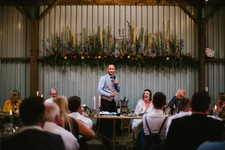 Floral Installation In Barn For Wedding // The Fire Pit Camp Norfolk Wedding With Bride In Cleo Dress By Rue De Seine Dress And Images From Honey And The Moon Photography
