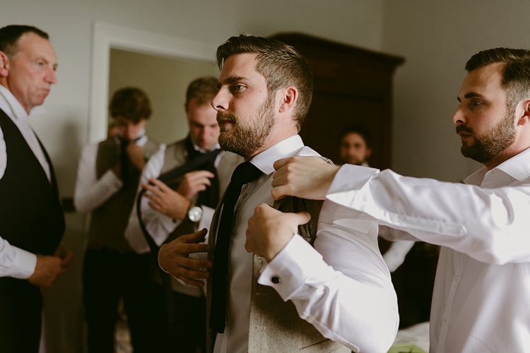 Wedding Morning Groomsmen Preparations | Outdoor Boho Wedding at Chateau le Tour, France | Adam and Grace Photography | Head and Heart Films