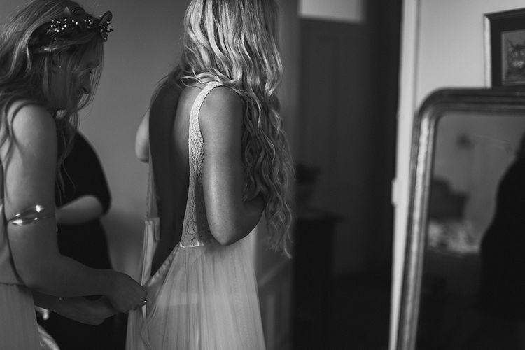 Wedding Morning Bridal Preparations | Groom in Daalarna Bridal Gown | Outdoor Boho Wedding at Chateau le Tour, France | Adam and Grace Photography | Head and Heart Films