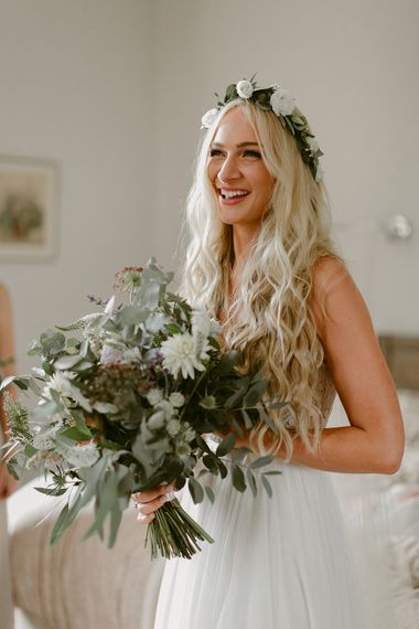 Boho Bride in Daarlarna Gown with Mermaid Hair & Flower Crown | Outdoor Boho Wedding at Chateau le Tour, France | Adam and Grace Photography | Head and Heart Films