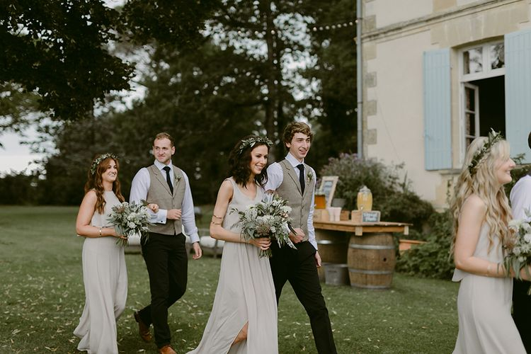 Bridesmaids in Show Me Your Mumu Dress & Flower Crowns | Groomsmen in Waistcoats | Outdoor Boho Wedding at Chateau le Tour, France | Adam and Grace Photography | Head and Heart Films