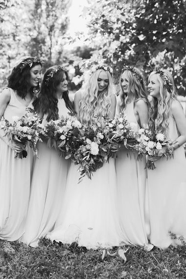 Bridal Party | Bride in Daalarna Bridal Gown | Bridesmaids in Show Me Your Mumu Dresses | Outdoor Boho Wedding at Chateau le Tour, France | Adam and Grace Photography | Head and Heart Films