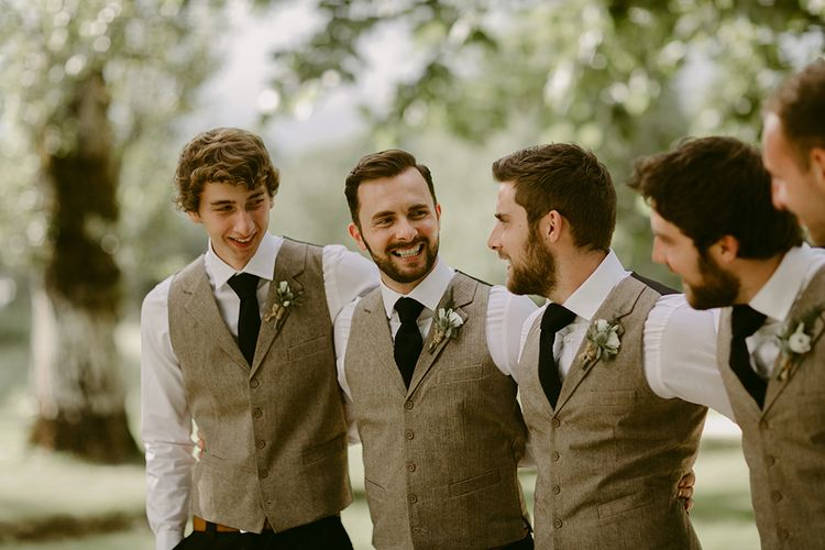 Groomsmen in Waistcoats | Outdoor Boho Wedding at Chateau le Tour, France | Adam and Grace Photography | Head and Heart Films