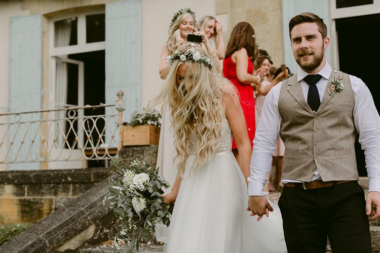 Boho Bride with Mermaid Hair  in Daalarna Bridal Gown | Groom in Waistcoat | Outdoor Boho Wedding at Chateau le Tour, France | Adam and Grace Photography | Head and Heart Films