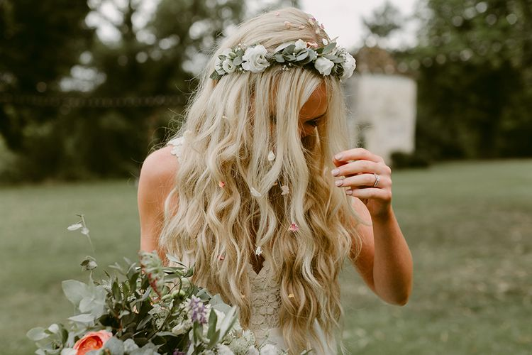 Boho Bride with Mermaid Hair  & Flower Crown in Daalarna Bridal Gown | Outdoor Boho Wedding at Chateau le Tour, France | Adam and Grace Photography | Head and Heart Films