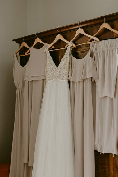 Bridal Wear | Daalarna Bridal Gown | Show me Your Mumu Bridesmaid Dresses | Outdoor Boho Wedding at Chateau le Tour, France | Adam and Grace Photography | Head and Heart Films
