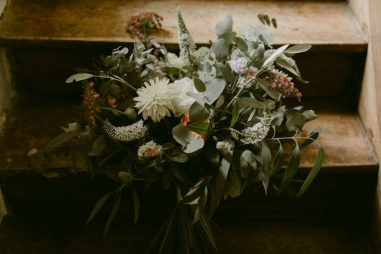 Greenery & White Bouquet | Outdoor Boho Wedding at Chateau le Tour, France | Adam and Grace Photography | Head and Heart Films