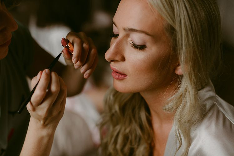 Bridal Makeup | Daalarna Bridal Gown | Outdoor Boho Wedding at Chateau le Tour, France | Adam and Grace Photography | Head and Heart Films