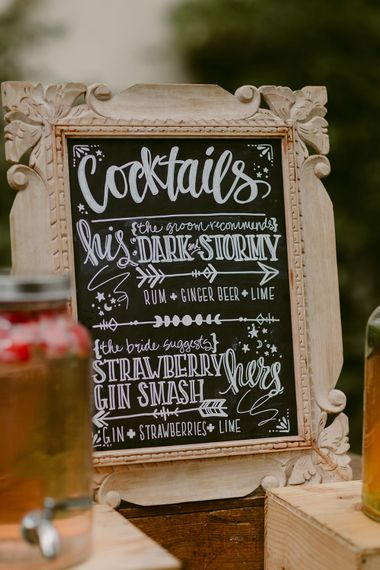 Chalkboard Cocktail Sign | Festoon Lit Outdoor Boho Wedding at Chateau le Tour, France | Adam and Grace Photography | Head and Heart Films