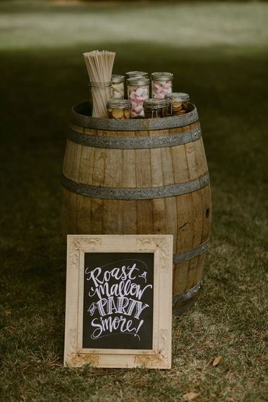 Smore's Dessert Station | Festoon Lit Outdoor Boho Wedding at Chateau le Tour, France | Adam and Grace Photography | Head and Heart Films