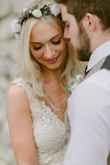 Bride in Daalarna Bridal Gown | Groom in Waistcoat | Festoon Lit Outdoor Boho Wedding at Chateau le Tour, France | Adam and Grace Photography | Head and Heart Films