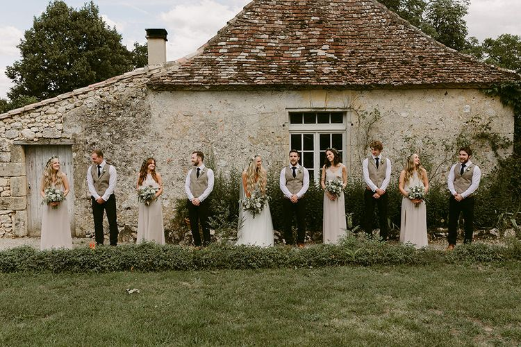 Wedding Party | Bride in Daalarna Bridal Gown | Bridesmaids in Show Me Your Mumu Dresses | Groomsmen in Waistcoats | Outdoor Boho Wedding at Chateau le Tour, France | Adam and Grace Photography | Head and Heart Films