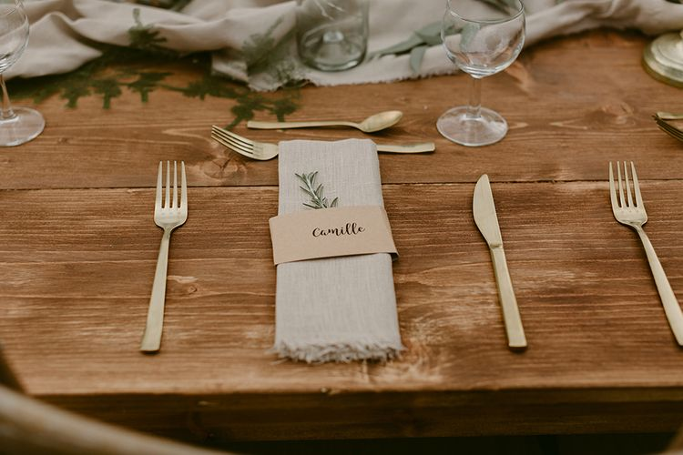 Place Setting | Festoon Lit Outdoor Boho Wedding at Chateau le Tour, France | Adam and Grace Photography | Head and Heart Films