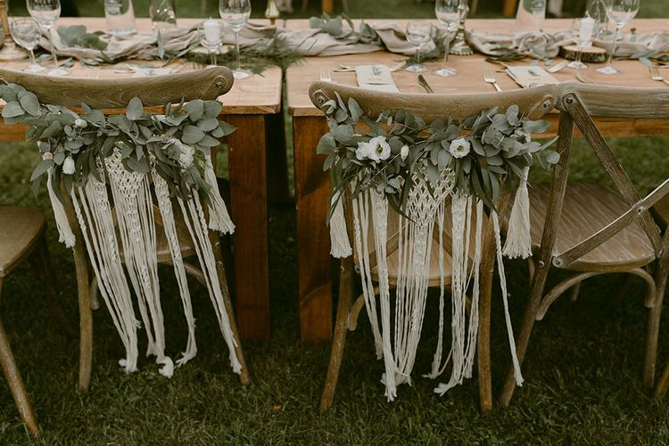 Macrame & Greenery Chair Back Decor | Festoon Lit Outdoor Boho Wedding at Chateau le Tour, France | Adam and Grace Photography | Head and Heart Films
