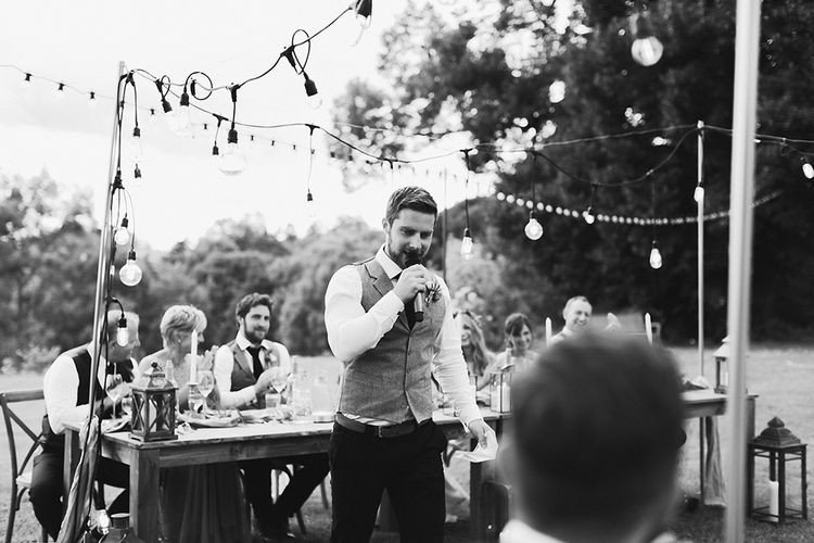 Wedding Speeches | Groom in Waistcoat | Festoon Lit Outdoor Boho Wedding at Chateau le Tour, France | Adam and Grace Photography | Head and Heart Films