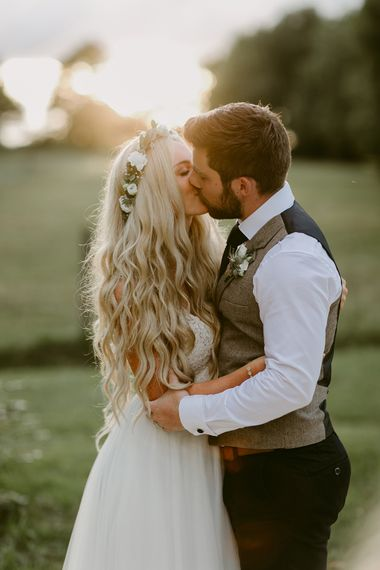 Bride in Daalarna Bridal Gown with Mermaid Hair | Groom in Waistcoat | Outdoor Boho Wedding at Chateau le Tour, France | Adam and Grace Photography | Head and Heart Films
