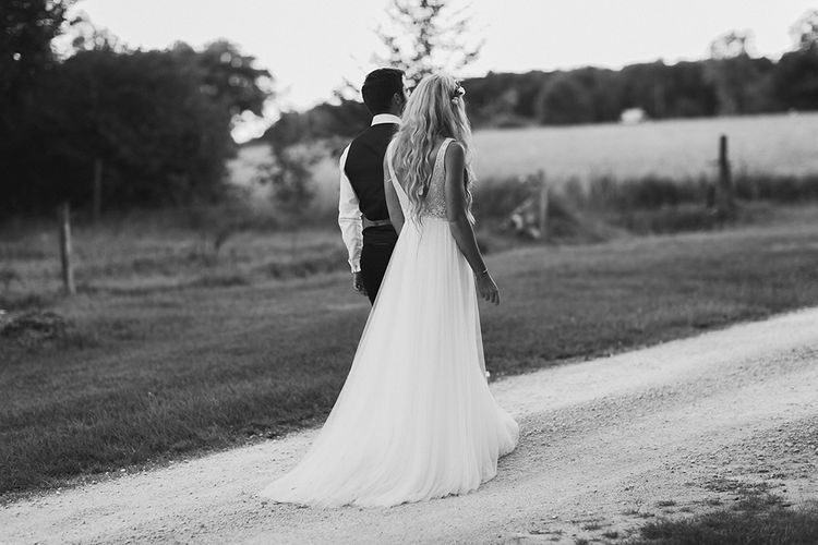 Bride in Daalarna Bridal Gown | Groom in Waistcoat | Outdoor Boho Wedding at Chateau le Tour, France | Adam and Grace Photography | Head and Heart Films