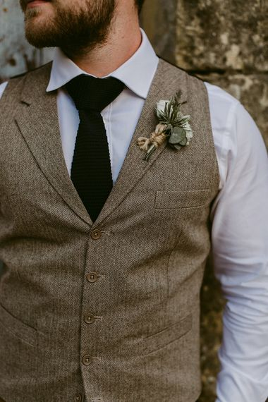 Groom in Waistcoat | Buttonhole | Outdoor Boho Wedding at Chateau le Tour, France | Adam and Grace Photography | Head and Heart Films