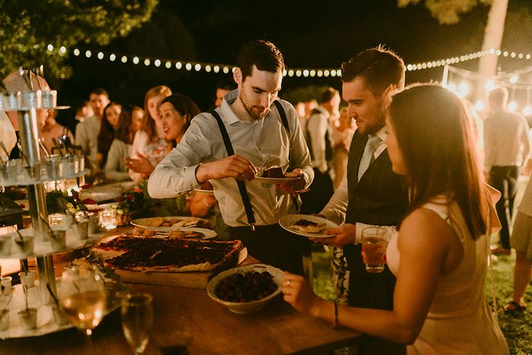 Festoon Lit Outdoor Boho Wedding at Chateau le Tour, France | Adam and Grace Photography | Head and Heart Films