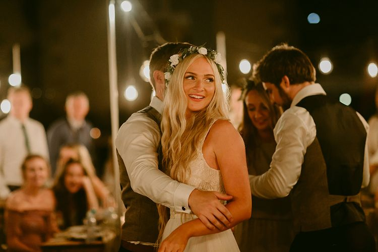 First Dance | Bride in Daalarna Bridal Gown | Groom in Waistcoat | Outdoor Boho Wedding at Chateau le Tour, France | Adam and Grace Photography | Head and Heart Films