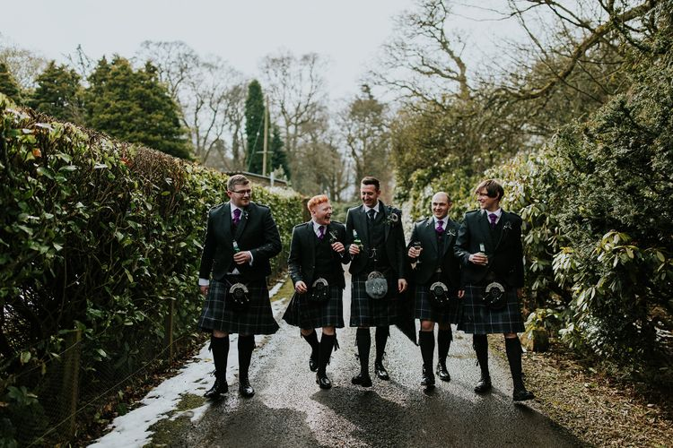 Groom & Groomsmen In Kilts // Elegant Scottish Wedding At Kirknewton Stables With Lilac Colour Palette Semi Naked Wedding Cake And Images From Ross Alexander Photography