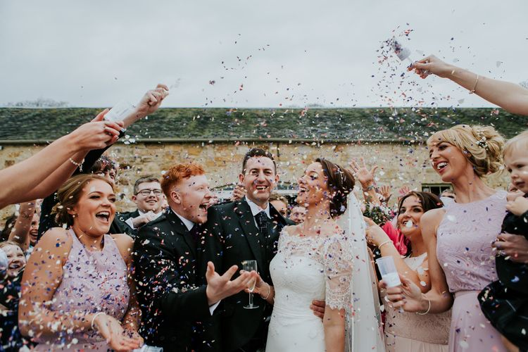 Confetti Moments // Elegant Scottish Wedding At Kirknewton Stables With Lilac Colour Palette Semi Naked Wedding Cake And Images From Ross Alexander Photography