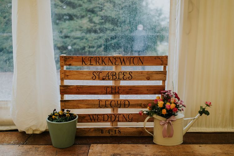 Wooden Palette Wedding Signage // Elegant Scottish Wedding At Kirknewton Stables With Lilac Colour Palette Semi Naked Wedding Cake And Images From Ross Alexander Photography