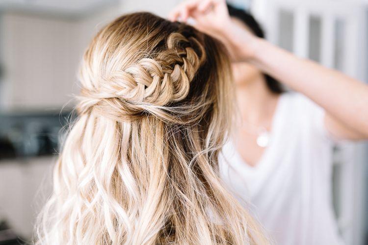 Half Up Half Down Wedding Hairstyle with Bridal Braid