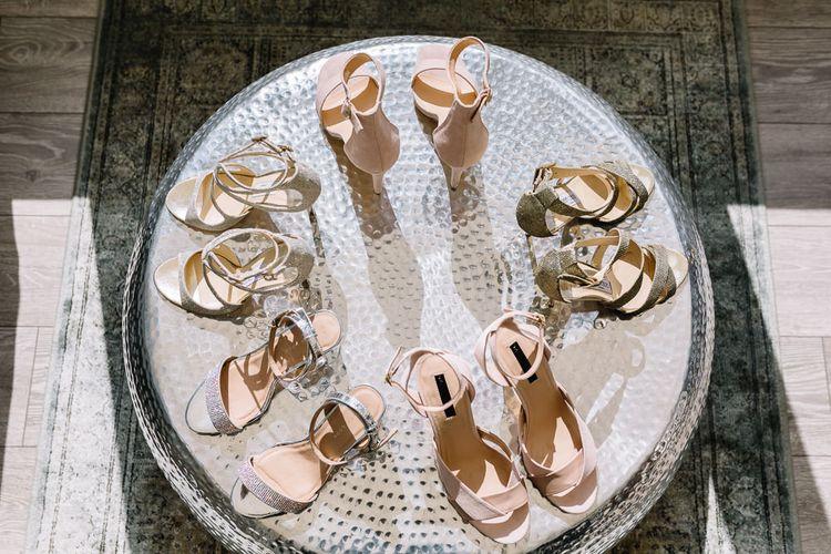 Table of Bridal and Bridesmaid Shoes