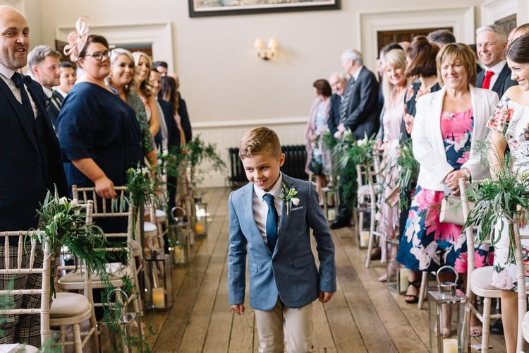 Page Boy in Chino's and Blazer Walking Down The Aisle