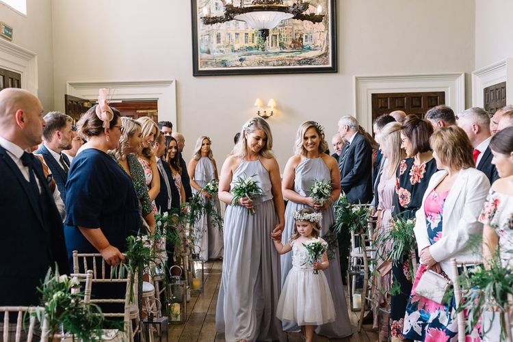 Wedding Ceremony Bridesmaid Entrance in Silver Mist TH&TH Dresses