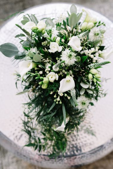 White and Green Wedding Bouquet with Lilies