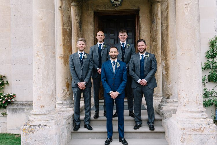 Groomsmen Portrait with Groom in Bespoke Navy Check Suit by Territo
