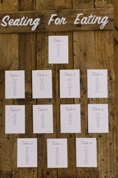 Wooden Table Plan with Seating for Eating Sign