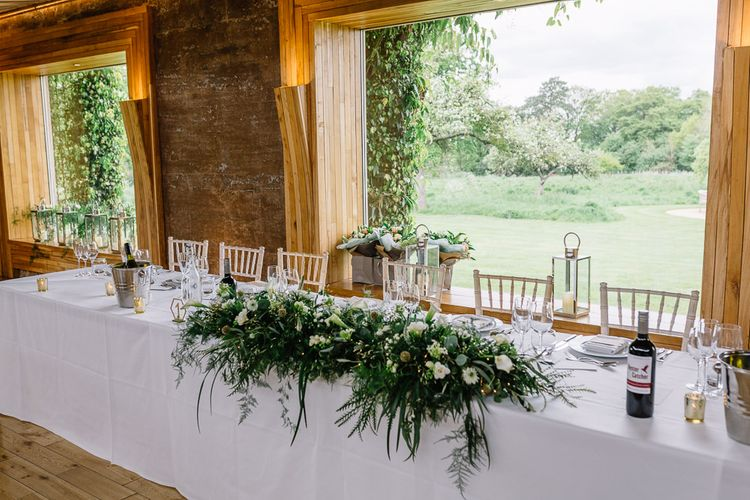 White and Green Top Table Wedding Flowers