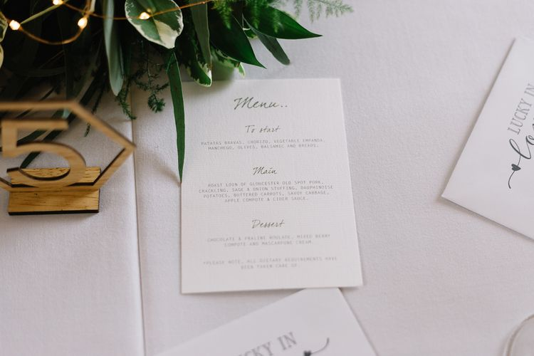 Wedding Stationery Menu Card