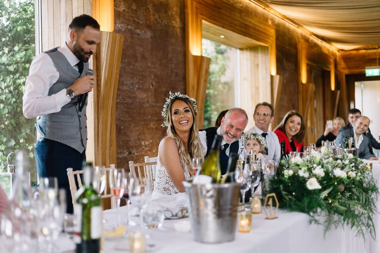 Groom in Bespoke Suit Giving his Wedding Speech at the Reception
